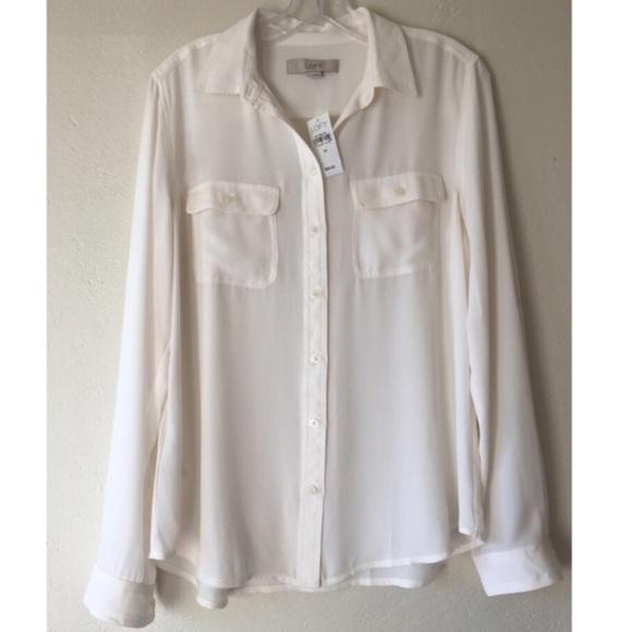Loft Tops Nwt Sheer White Button Down Shirt Poshmark